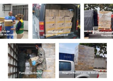 Cámara Nacional de Acuacultura y la Embajada de China en el Ecuador donaron contingente de insumos médicos a entidades en Ecuador
